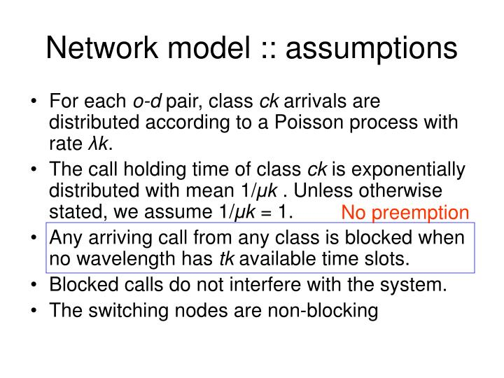 Network model :: assumptions
