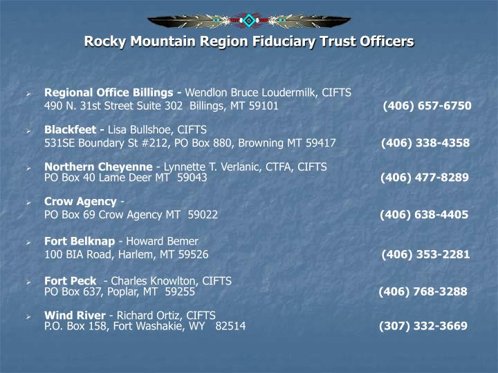 Rocky Mountain Region Fiduciary Trust Officers