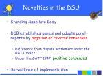 novelties in the dsu