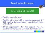 panel establishment