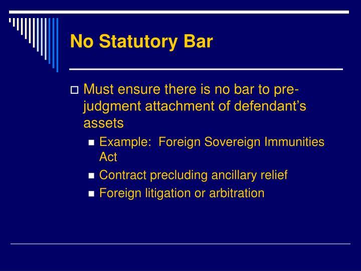 No Statutory Bar