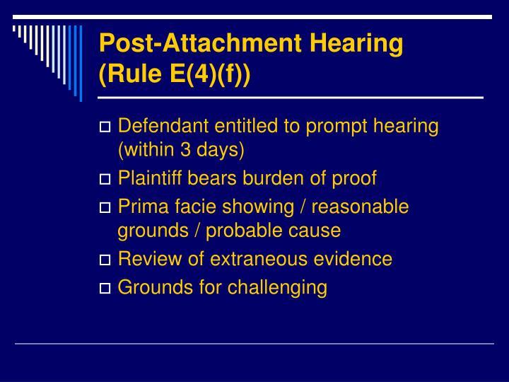 Post-Attachment Hearing