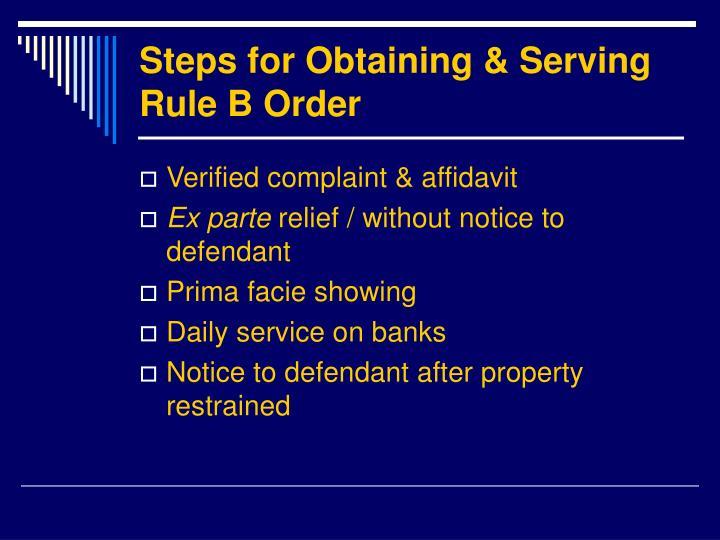 Steps for Obtaining & Serving