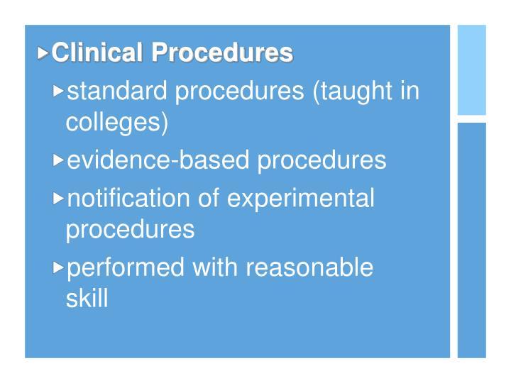 Clinical Procedures