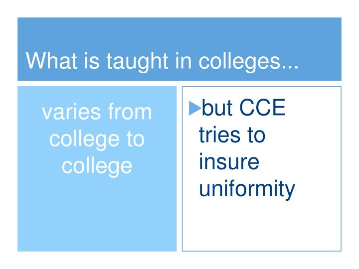 What is taught in colleges...
