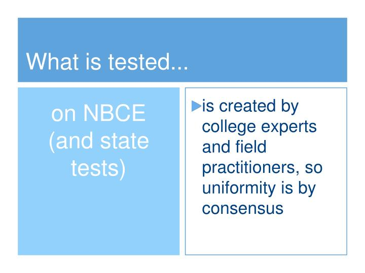What is tested...