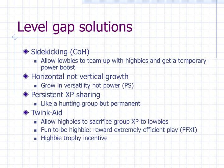 Level gap solutions