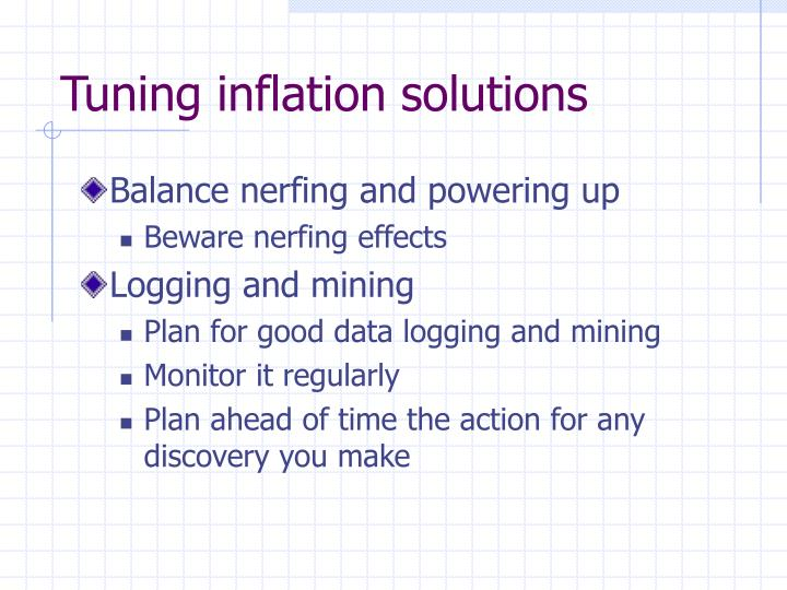 Tuning inflation solutions
