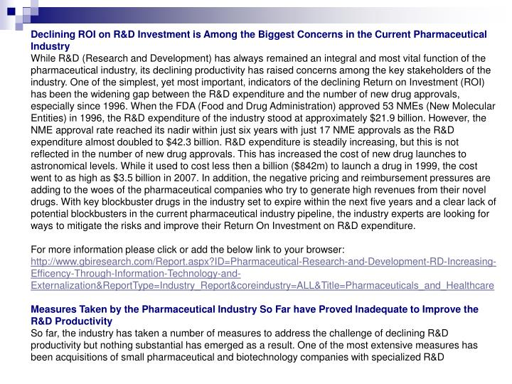Declining ROI on R&D Investment is Among the Biggest Concerns in the Current Pharmaceutical Industry