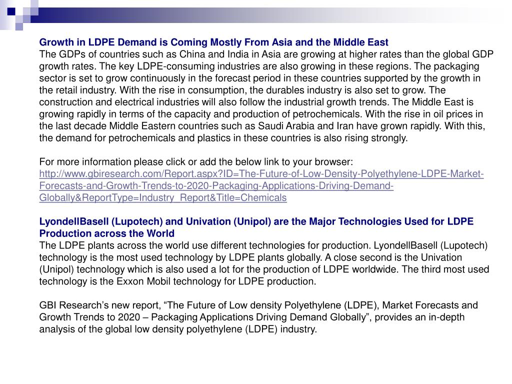 Growth in LDPE Demand is Coming Mostly From Asia and the Middle East