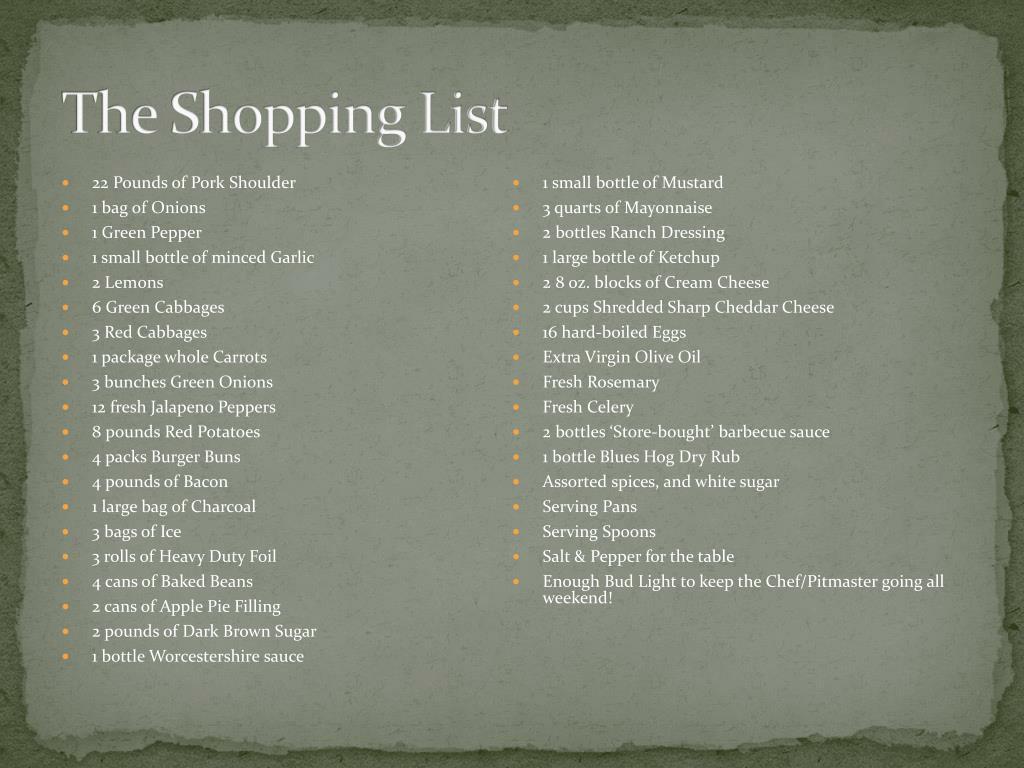 The Shopping List