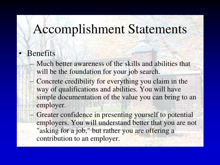Accomplishment Statements