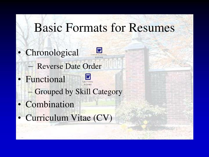 Basic Formats for Resumes