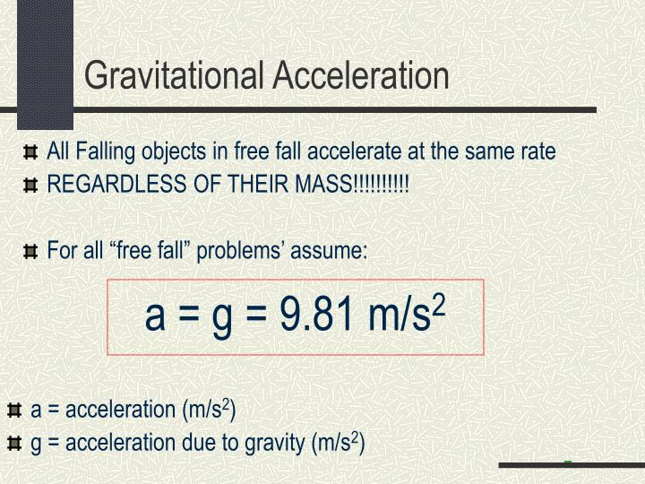 a = g = 9.81 m/s