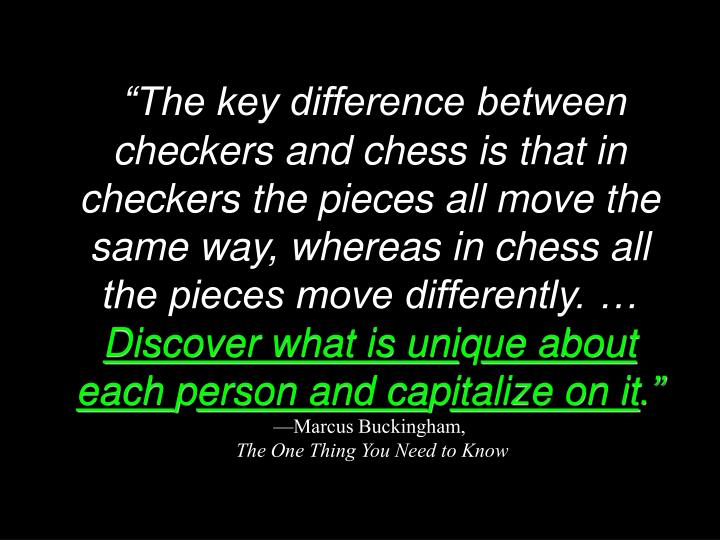 """The key difference between checkers and chess is that in checkers the pieces all move the same way, whereas in chess all the pieces move differently. …"
