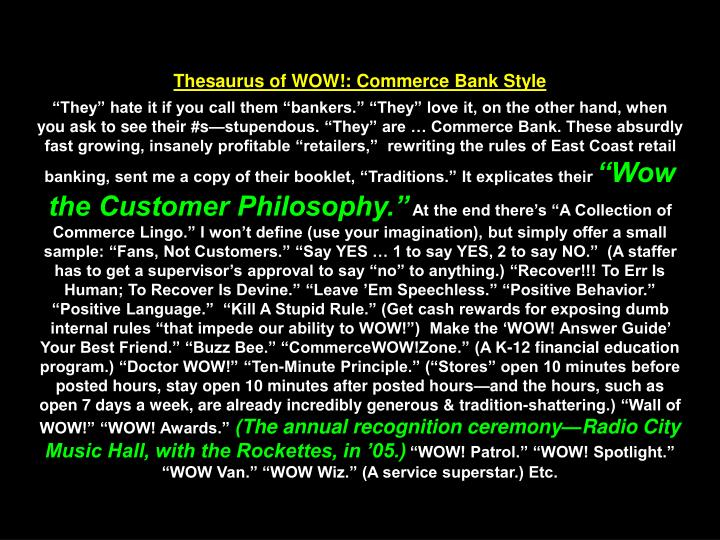 Thesaurus of WOW!: Commerce Bank Style