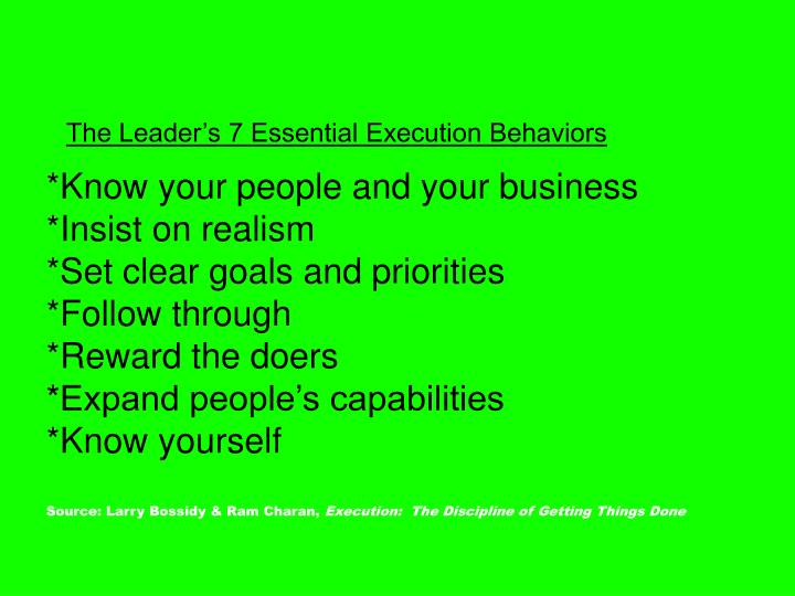 The Leader's 7 Essential Execution Behaviors