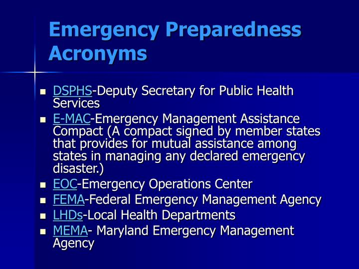 Emergency Preparedness Acronyms