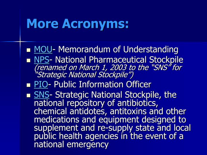 More Acronyms: