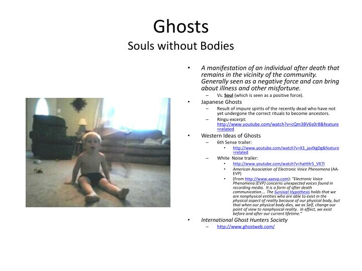 Ghosts souls without bodies
