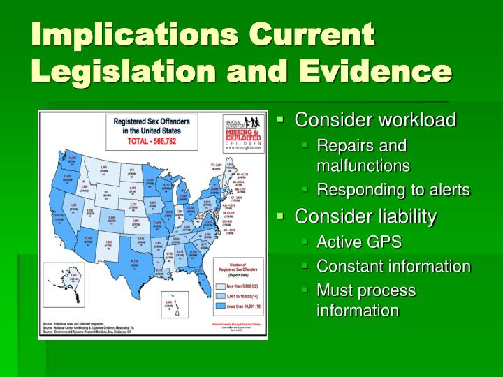 Implications Current Legislation and Evidence