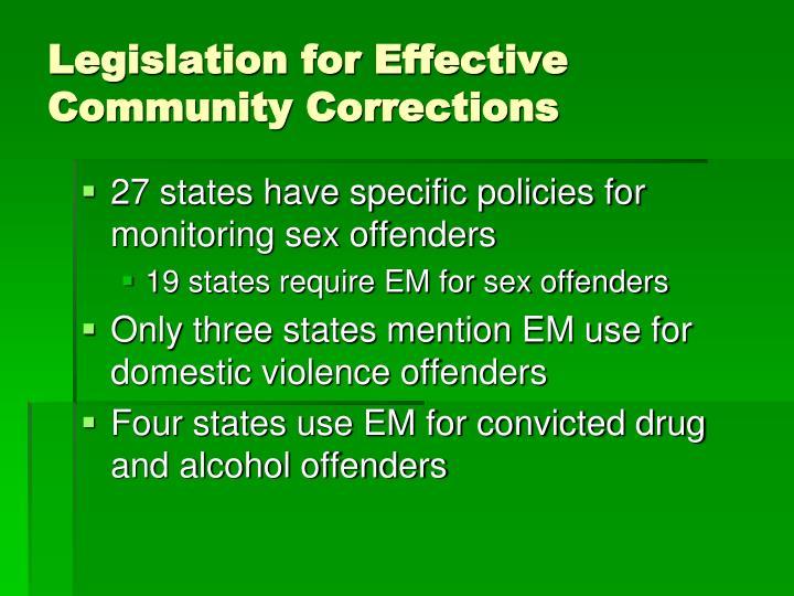 Legislation for Effective Community Corrections