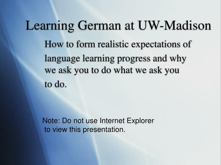 Learning german at uw madison