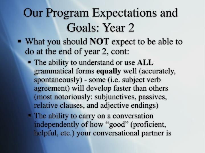 Our Program Expectations and Goals: Year 2