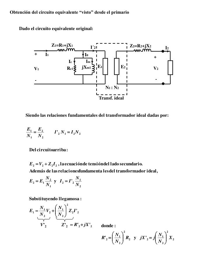 """Obtención del circuito equivalente """"visto"""" desde el primario"""