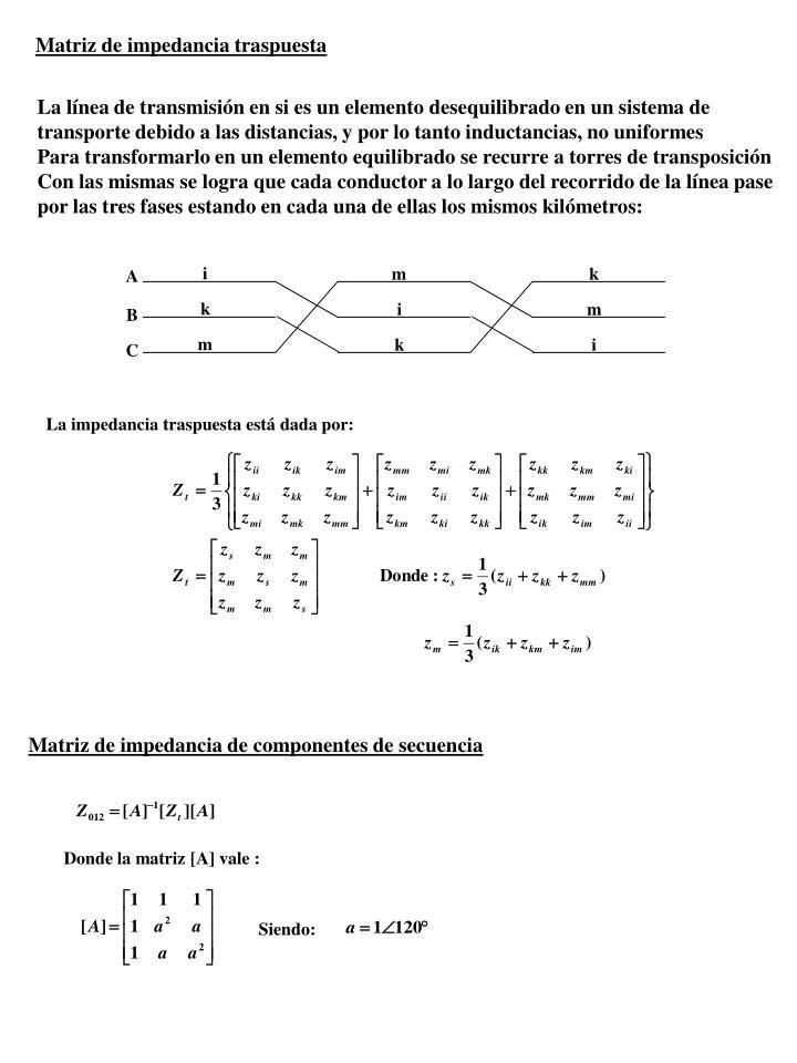 Matriz de impedancia traspuesta