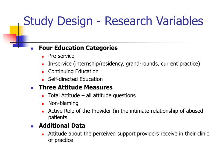 Study Design - Research Variables