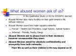 what abused women ask of us