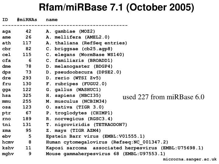 Rfam/miRBase 7.1 (October 2005)