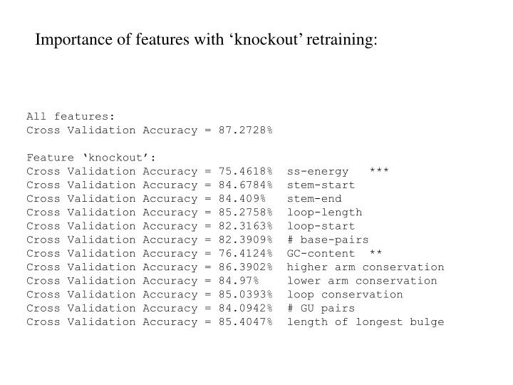 Importance of features with 'knockout' retraining: