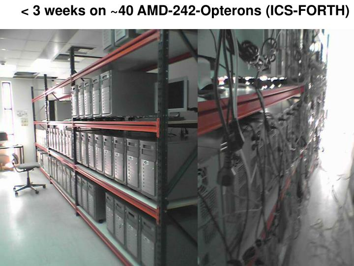 < 3 weeks on ~40 AMD-242-Opterons (ICS-FORTH)