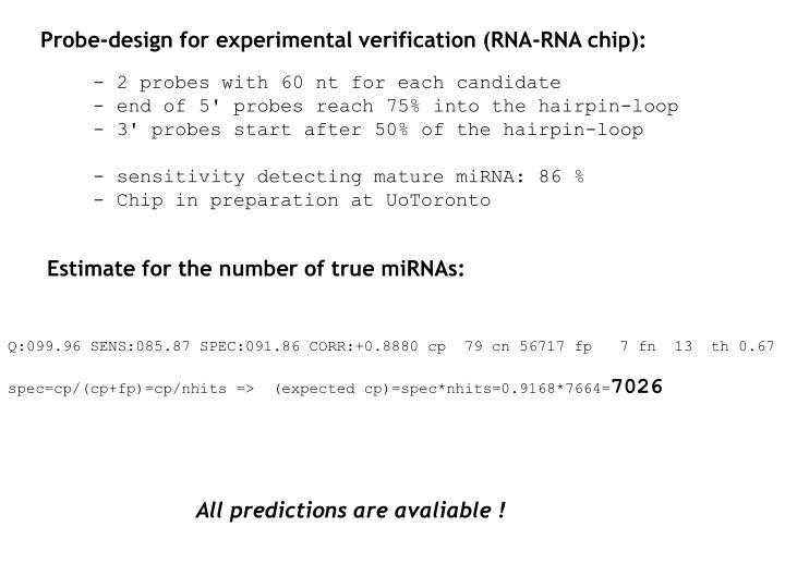 Probe-design for experimental verification (RNA-RNA chip):