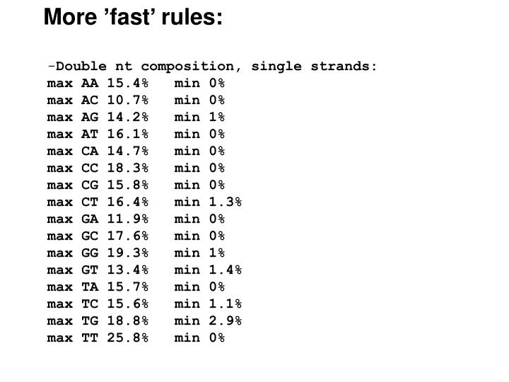 More 'fast' rules: