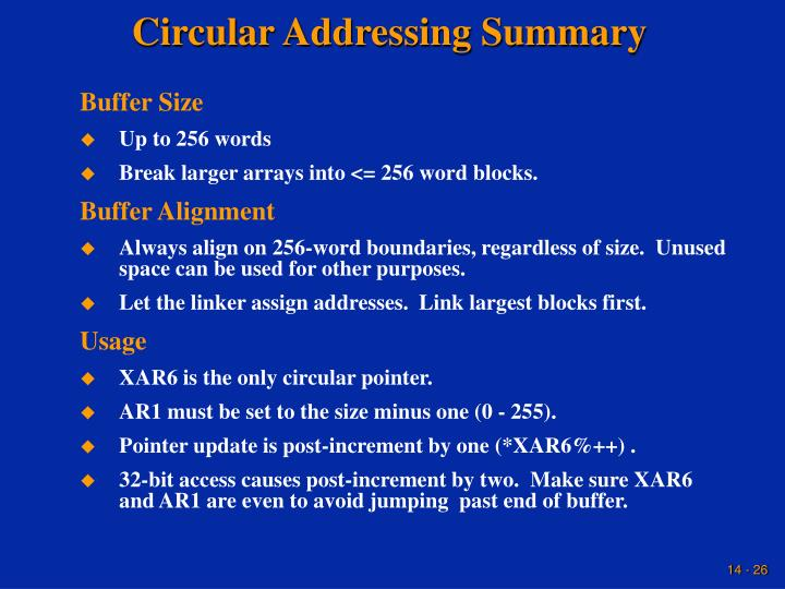 Circular Addressing Summary