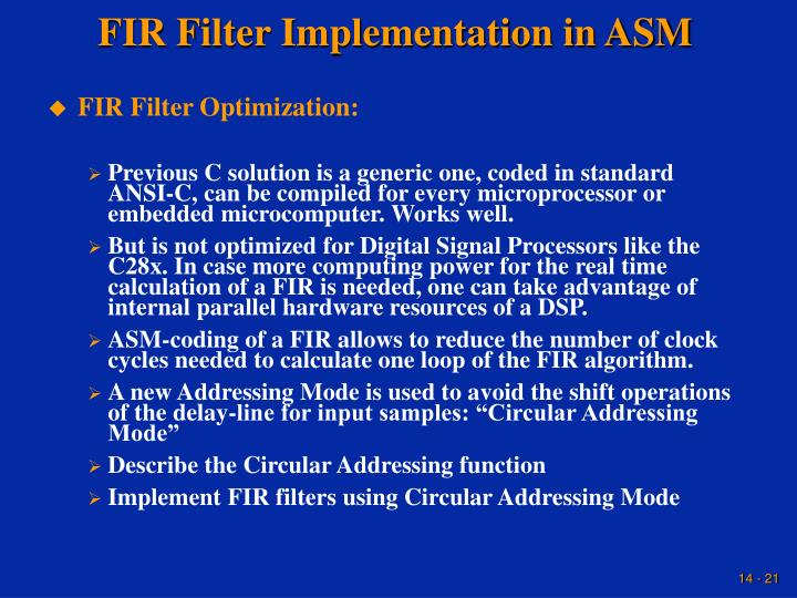FIR Filter Implementation in ASM