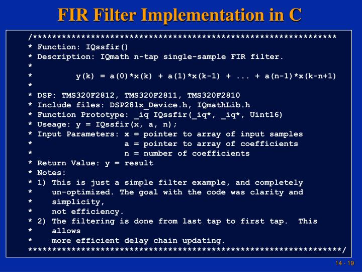FIR Filter Implementation in C