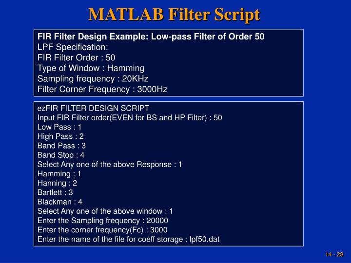 MATLAB Filter Script