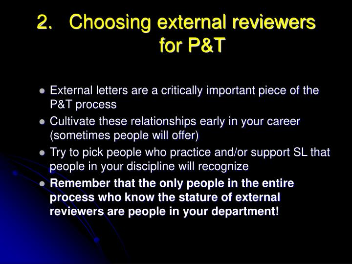 Choosing external reviewers