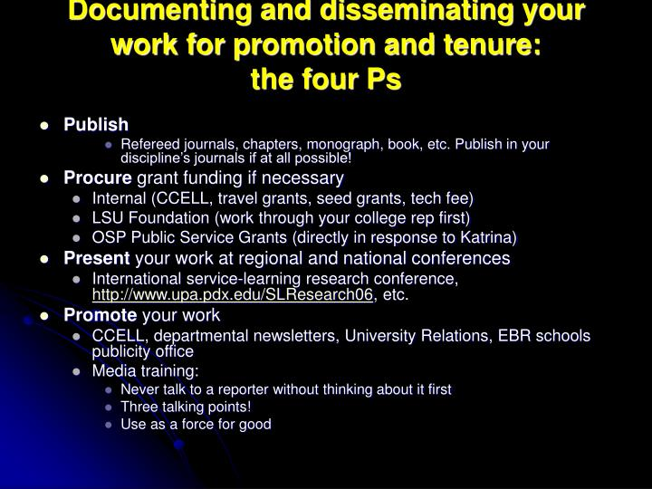 Documenting and disseminating your work for promotion and tenure: