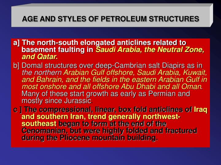 AGE AND STYLES OF PETROLEUM STRUCTURES