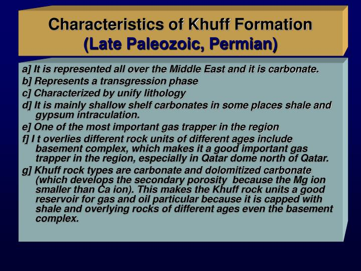 Characteristics of Khuff Formation