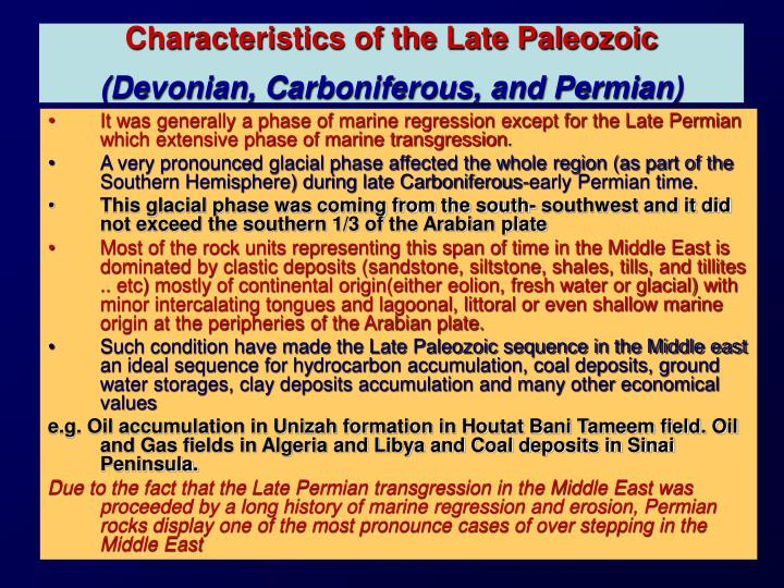 Characteristics of the Late Paleozoic