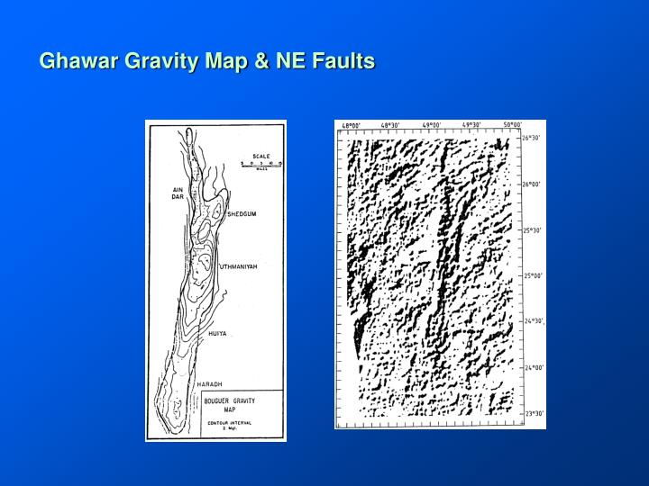 Ghawar Gravity Map & NE Faults