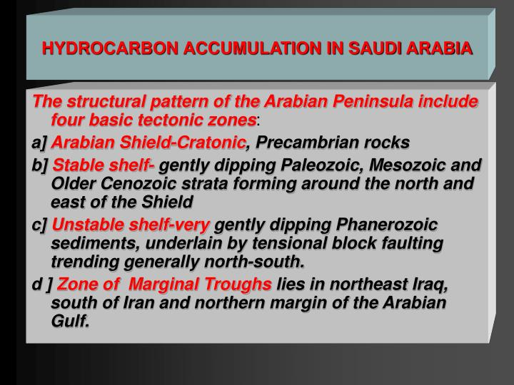 HYDROCARBON ACCUMULATION IN SAUDI ARABIA