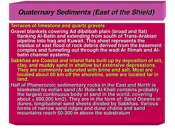 Quaternary Sediments (East of the Shield)