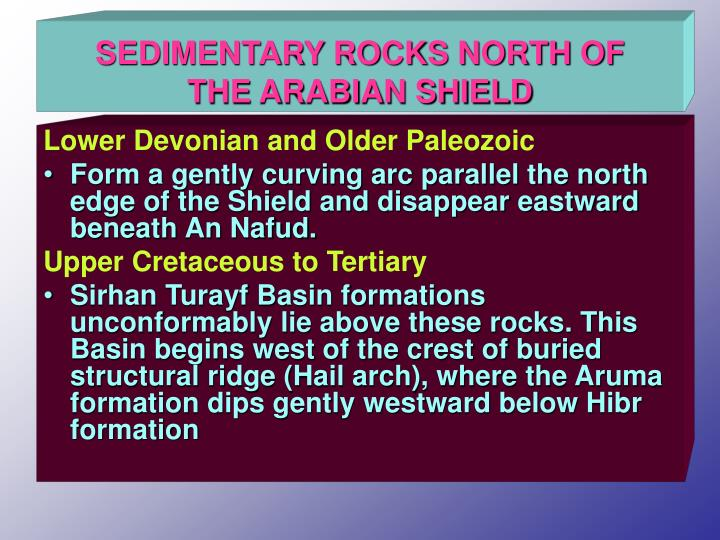 SEDIMENTARY ROCKS NORTH OF